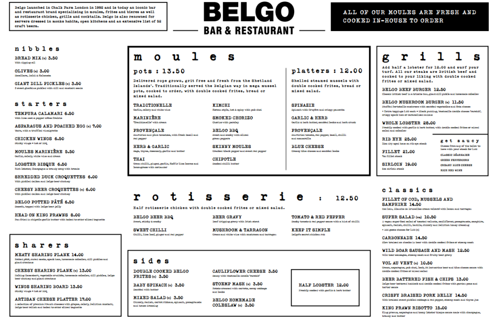 BELGO Soho Menu