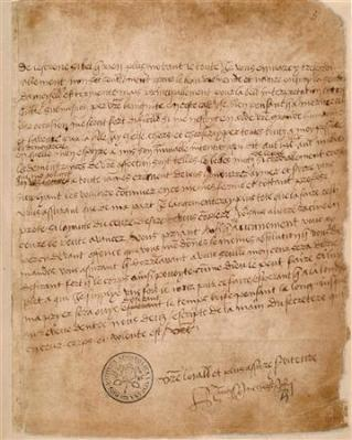 An undated handout image of a letter sent by King Henry VIII to Anne Boleyn in 1527