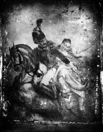 467px-levi_hill_-_two_on_a_horse-bw